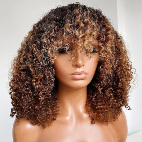 Ready to wear blonde Bang curly 360 frontal wig - BC263