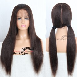 Indian remy coarse yaki glueless full lace bleached knots silk top wig-[LY003]