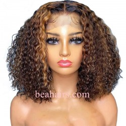 Brazilian virgin daily curly blonde bob 370 lace frontal wig--HT381