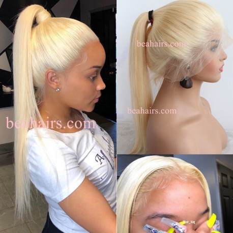 chinese virgin silk straight white blonde stock wig--ss009