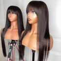 Stock 5*5 HD skin melt lace closure silk straight bang wig--HD106