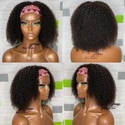 100% human hair Cheap but high quality messy curl headband wig--HB002