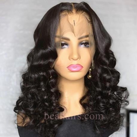 Brazilian virgin bottom loose wave full lace bleached knots wig-[WWW008]