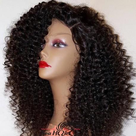 Brazilian virgin beach curl full lace bleached knots wig-[WWW009]