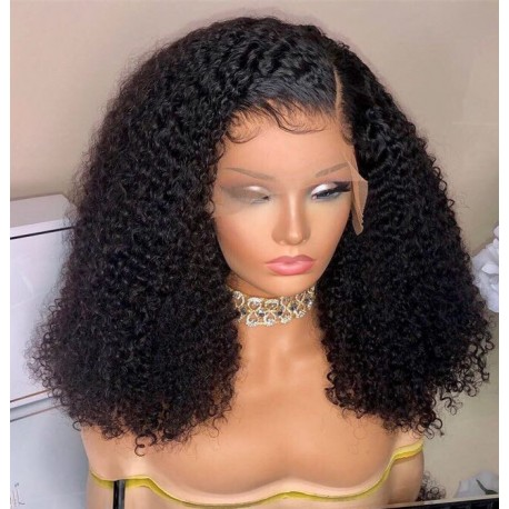 Pre-plucked Brazilian virgin human hair messy curl 360 frontal lace wig-[BC293]