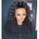 100% Virgin hair Deep curly Pre plucked bleached knots full lace wig--bh005