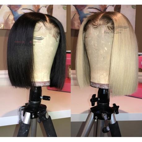 Glueless lace front bob-Brazilian virgin silk straight-- [LFW001]
