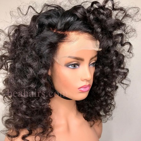 Stock Spanish Curl 5*5 HD skin melt lace closure wig--HD112