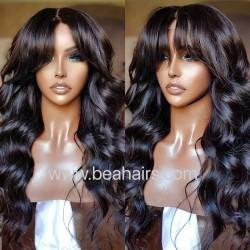 Stock 5*5 HD lace closure loose body wave bang wig--HD116