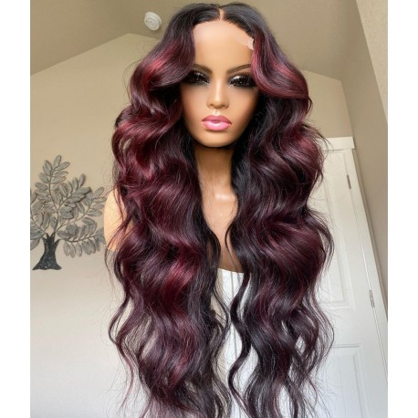 Stock 5*5 HD lace closure burgundy loose wave middle parting wig--HD114