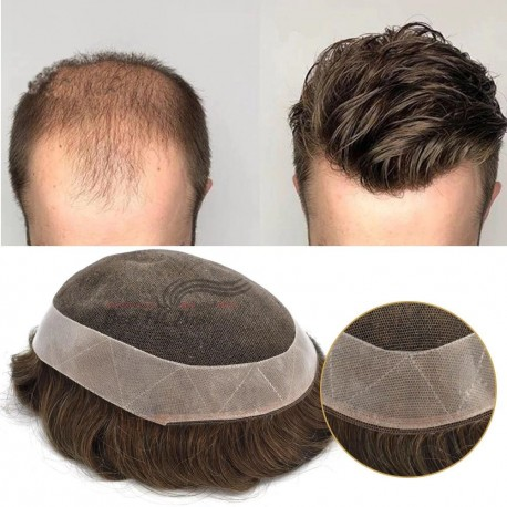 "Color 1B Durable Fine Mono Mens Hair Replacement System 6"" Indian Human Hair Toupee 130% Hair Denstiy Mono Wig for Men--TP001"