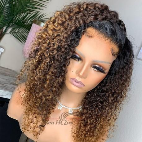 Brazilian virgin Ombre brown color deep curly 5*5 HD lace closure wig--HD334