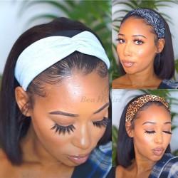 100% human hair Throw On & Go Headband BOB wig--HB003