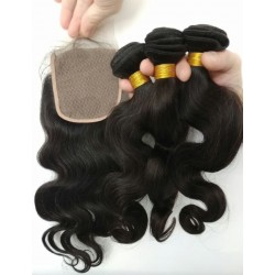 body wave 3 brazilian virgin bundles with a brazilian virgin closure--100% human hair,unprocessed