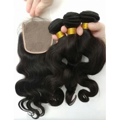 3 brazilian virgin bundles with a brazilian virgin closure--100% human hair,unprocessed