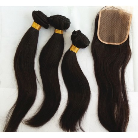 silk straight 3 brazilian virgin bundles with a brazilian virgin closure--100% human hair,unprocessed