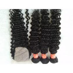 3 bundles Brazilian virgin deep wave with a silk base closure