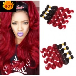 Best sales!!!--4 bundles brazilian virgin body wave ombre color machine wefts