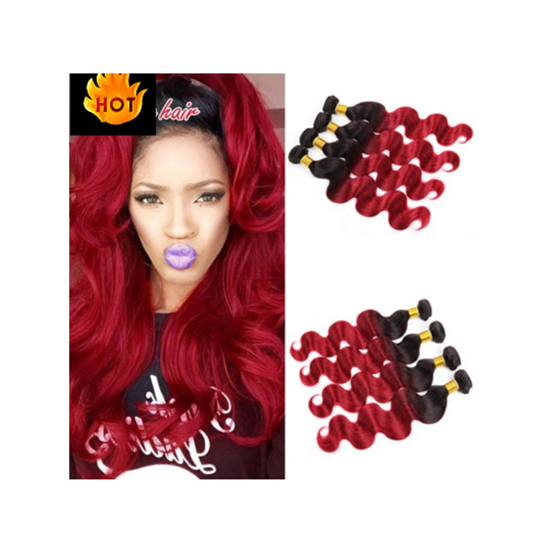 100 Brazilian Virgin Human Hair Two Tones Ombre Color Weaves In Stock