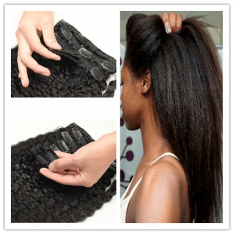 2 bundles Clips in brazilian virgin kinky straight machine wefts