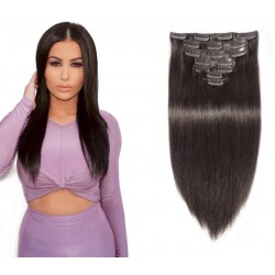 Clips in brazilian virgin silk straight wefts
