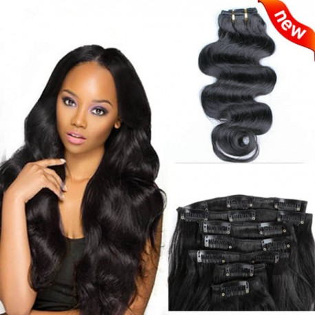 Clips in brazilian virgin body wave wefts