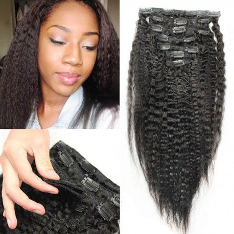 Clips in brazilian virgin kinky straight machine wefts