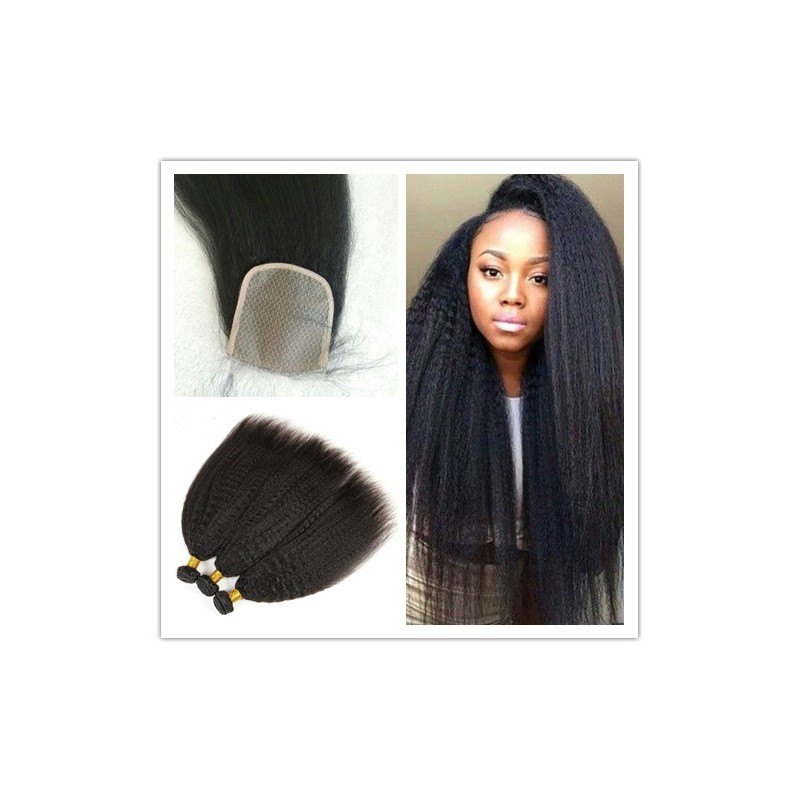 Brazilian Kinky Straight Hair Extensions With A Silk Base Top Closure