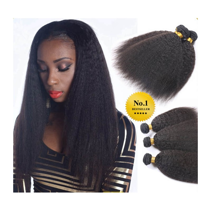 Stock 3 Bundles Brazilian Virgin Kinky Straight Human Hair Weave Wefts