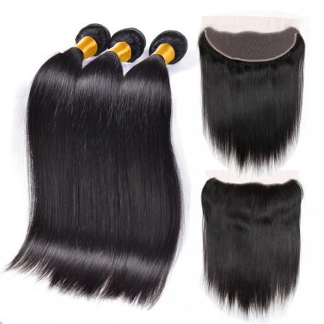 silk straight 3 brazilian virgin bundles with a brazilian virgin frontal-100% human hair,unprocessed
