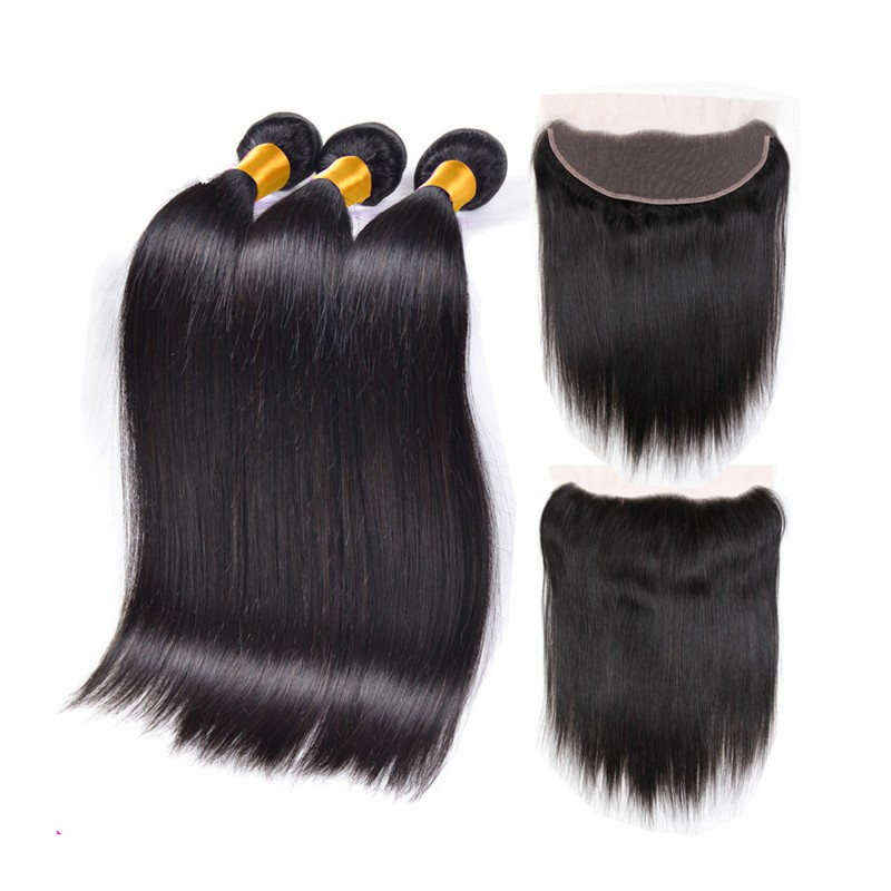 In Stock Brazilian Virgin Silk Straight Human Hair Weaves