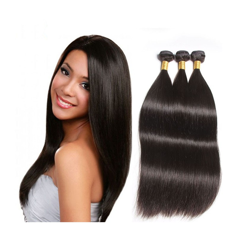 3 Bundles Brazilian Virgin Silky Straight Human Hair Weaves In Stock
