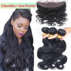 body wave 3 brazilian virgin bundles with a brazilian virgin frontal-100% human hair,unprocessed