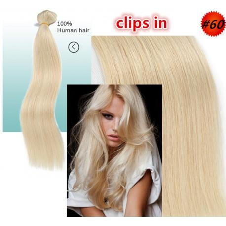 Brazilian virgin silk straight clips in of color 60