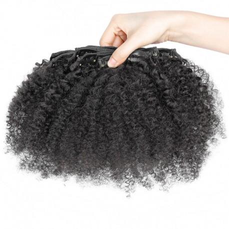 Brazilian virgin Afro curl clips in--one bundle