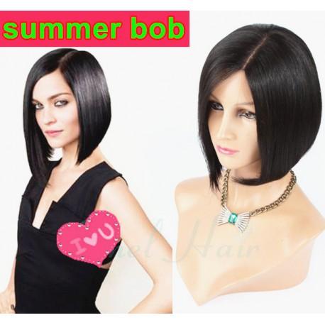 Summer BOB style--brazilian virgin silk straight full lace wig