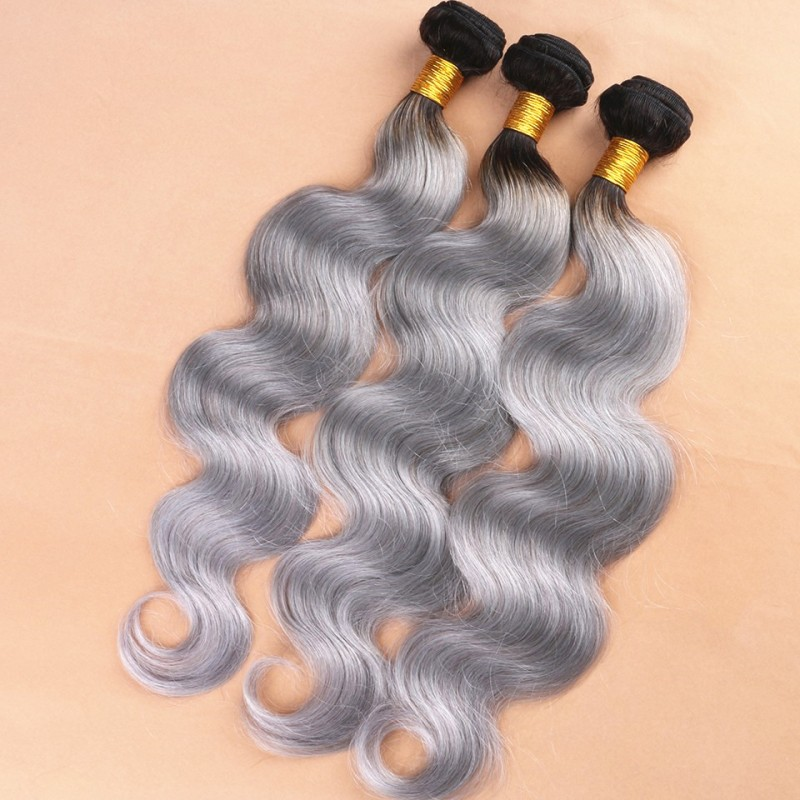 Brazilian Virgin Body Wave Ombre Grey Human Hair Weave Extensions