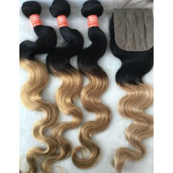 Brazilian virgin ombre blonde body wave 3 wefts with a silk base closure