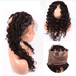 brazilian virgin 360 Lace Frontal closure deep wave with Straps