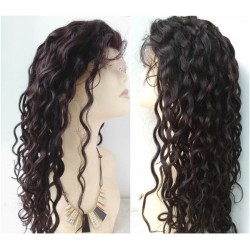 Brazilian virgin water wave full lace bleached knots wig