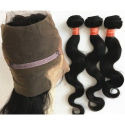 Brazilian virgin body wave 360 frontal with 3 bundles-[HOT111]