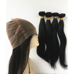 Brazilian virgin silk straight 360 frontal with 4 bundles-[HOT444]
