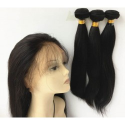 Brazilian virgin silk straight 360 frontal with 3 bundles-[HOT333]
