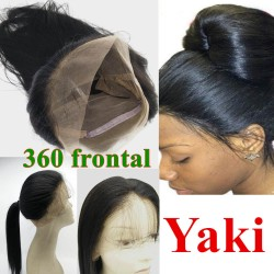 Brazilian virgin 360 Lace Frontal closure light yaki straight texture