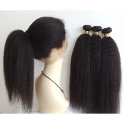 Brazilian virgin kinky straight 360 frontal with 3 bundles deals