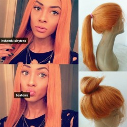 Summer wig--Brazilian virgin orange color silk straight lace front wig