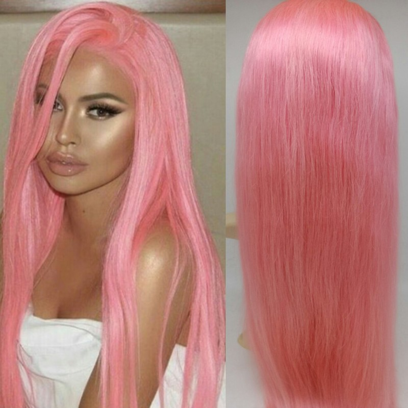 Brazilian Virgin Pink Color Silk Straight Lace Front Wefts Back Wig