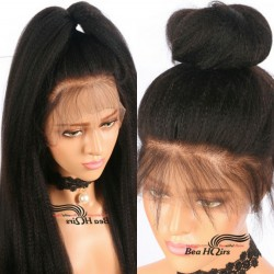 Brazilian virgin Italian yaki 360 frontal wig with weaves sewn in-[HT256]