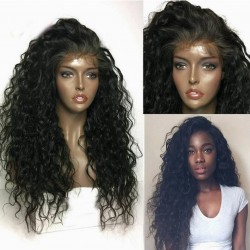 Pre-plucked Brazilian virgin Curly Wave human hair 360 frontal lace full wig-[HY666]