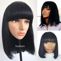 Brazilian straight or Yaki texture Machine Made Glueless Short Bob with Bangs--[MM001]